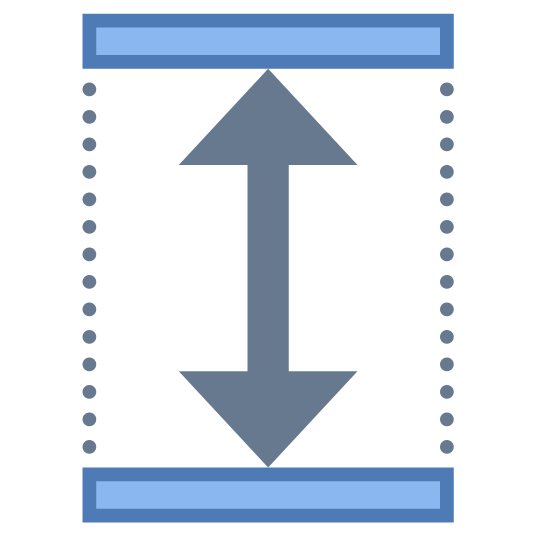 Wysokość icon. It's a logo that has two arrows which point up and down. The arrow is placed inside a rectangle and the side walls are dotted rather than a smooth line.