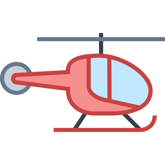 Śmigłowiec icon. It's logo of a helicopter. It is not flying it is stationary. It has a propeller on top and landing devices on the bottom. It actually has a second propeller on the back of it also.