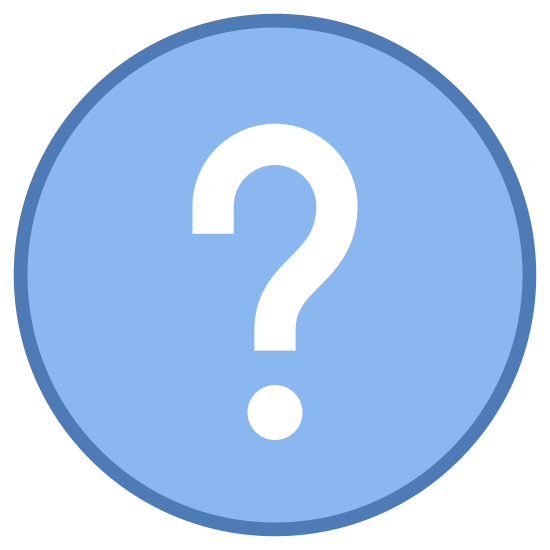 Help icon. It is circle with a question mark in the middle. The question mark is very prominent and exactly in the center of the circle. It is pretty much like a button you would click if you wanted help on a topic, or an image you would see to find information.
