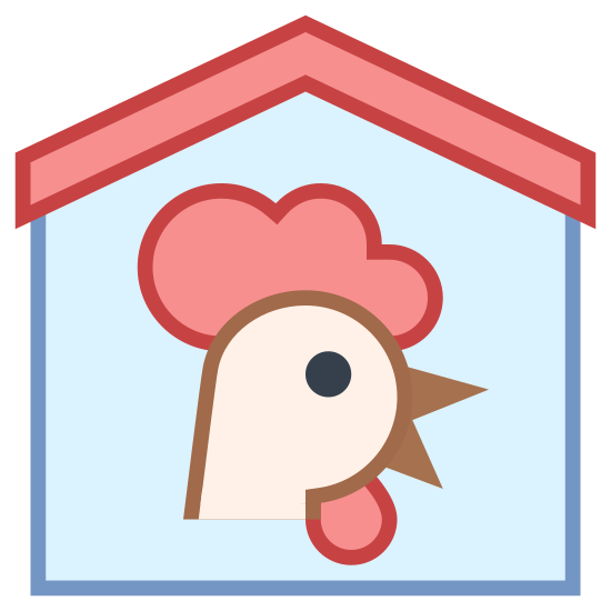 Farm House icon. This is a Henhouse. The pentagonal shape shows it's a house and has a chickens face in the middle of it.