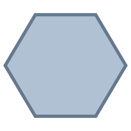 Sechseck icon. It is a hexagon with six straight lines that meet to form a shape with six sides. On each point of the hexagon there are dots on top of the corner. There are six corners on the outside, so there are six dots on each corner. The center of the hexagon is empty.