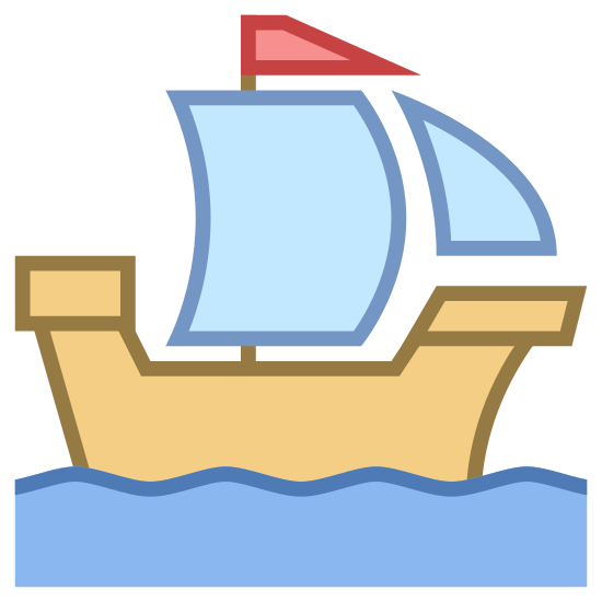 Zabytkowy statek icon. It's an image of an old wooden ship with two sails with a tiny black flag above them. There are wavy water lines below the ship like it is in the open sea.