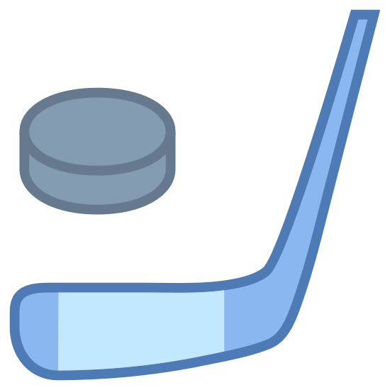 Hockey icon. This is hockey. This image shows a a circular object called a puck. The other is a hockey stick.
