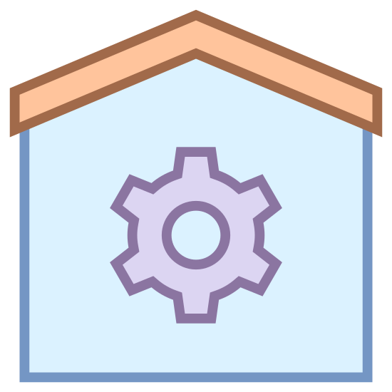Автоматизация дома icon. The home automation icon displays a house, and the house has a gear inside. The gear has six spokes and a hole in the center. The house has a roof that's slanted on both sides.