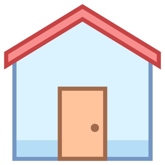 Zuhause icon. Its where you live, theres a door to enter with a roof supporting the place to keep you safe. The right of the room has a chimney poking out.