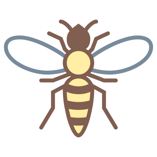 Hornet icon. This is an image of a hornet.  The hornet has a slender body with a head, thorax, abdomen with three segments and two antennae.  The hornet also has three pairs of legs and two wings.