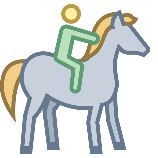Horseback Riding icon. This icon is showing a human being mounted on top of a horse. The human is holding onto the back of the horses' neck, and the horse is shown walking with one foot in the air.