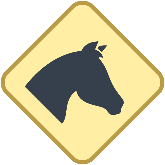 Znak Konie icon. This icon is depicting the head of a horse within a diamond shaped sign. The head of the horse occupies most of the space within the diamond and is facing profile towards the right.