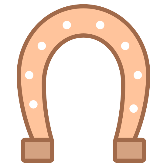 Horseshoe icon. The icon is a horseshoe that is placed with the round end in the air. It is a front view showing the typical horseshoe shape. It has dash lines in the center of the horseshoe.