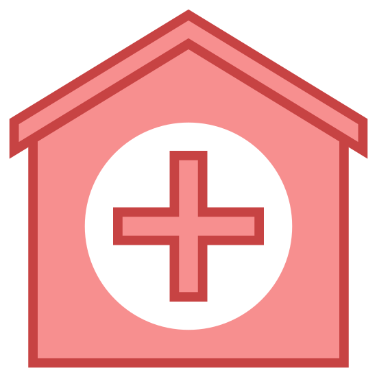 Hospital 3 icon. This icon is a square. The top two corners are rounded. In the middle of the top is a smaller square with all four edges rounded. In the middle of the main square are 4 rectangles.