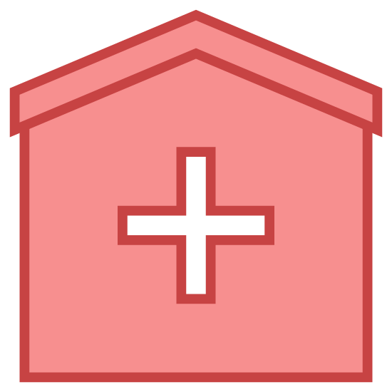 Hospital icon. The icon shows a box with a cross prominently shown in the center. This type of symbol is commonly used to represent a hospital, ambulance, or other health aid giving organization.