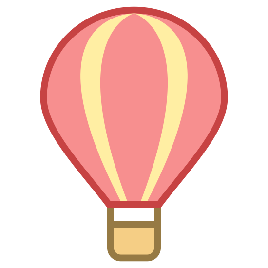 Hot Air Balloon icon. This looks like a hot air balloon. There's a circle, with multiple lines originating from the top and coming to a point at the bottom. At the point on the bottom, there's a small square.
