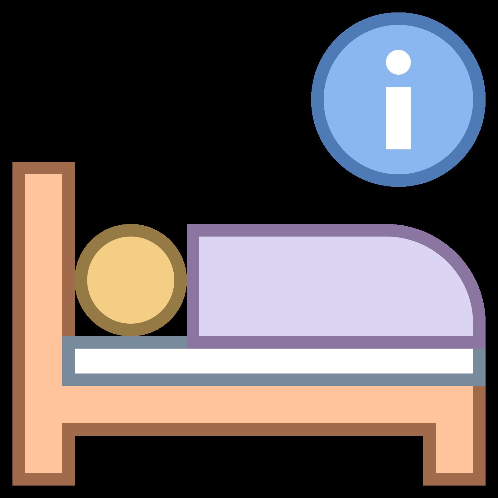 """酒店信息 icon. In this icon is a person sleeping on a bed with an encircled letter """"i"""" above their head. This depicts to the onlooker the possibility of obtaining hotel/sleeping information."""