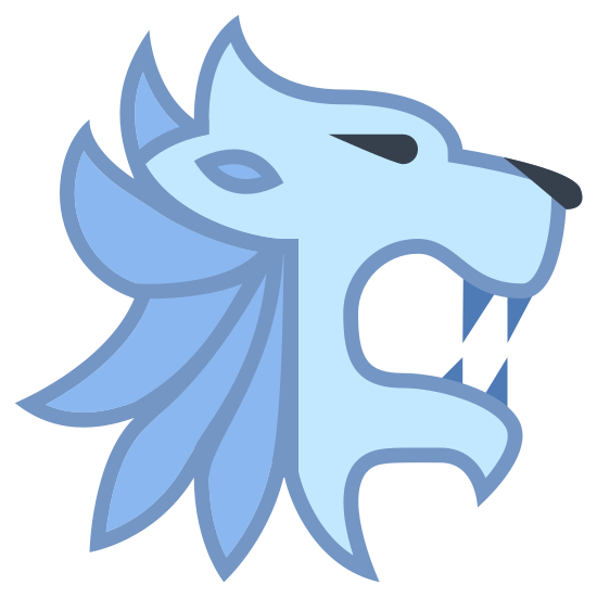House Lannister icon. The logo is of a stylized lion head. The head is in profile, facing to the right. Tufts of a mane are suggested at the top of the head and around the neck. The lion's mouth is open and there are two teeth visible, one on the top and one on the bottom.