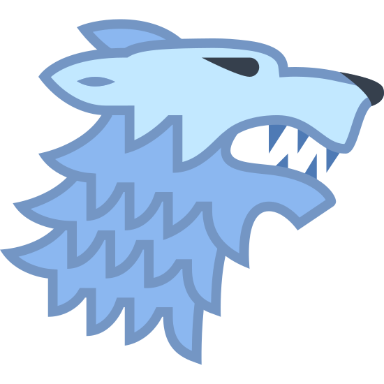 House Stark icon. This is a picture of the profile of an angry dog. he looks to be snarling or growling. his mouth is partially open and his sharp teeth are showing. his eyes are slanted and his ears are sticking straight back