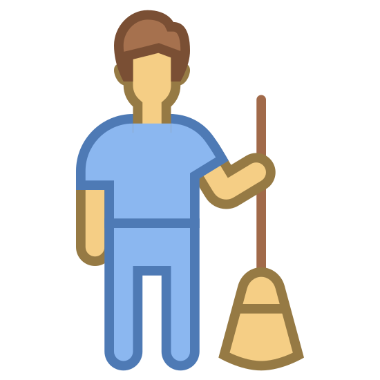 Gosposia Mężczyzna icon. This is a male human standing upright with both hands on long shaft of a broom handle. The head of the broom is in motion and is kicking up small bits of debris.