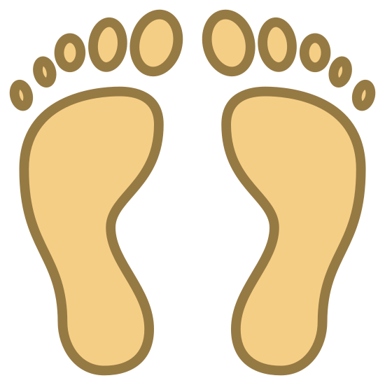 Ślady stóp człowieka icon. The icon is described as human footprints. It shows two human feet that are symmetrically side-by-side as if belonging to a person standing at attention. The toes are oval shaped and separate from the feet like in a real foot print.