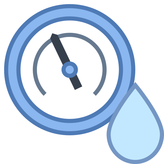 Humidity icon. A humidity icon is shown with a circle and inside the circle there will be line that is the pointer that represents the temperature for humidity. The other symbol next to the circle is a tear drop shape.