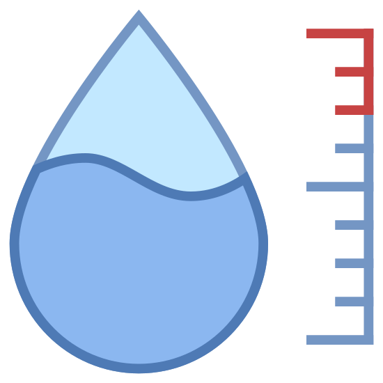 Hygrometer icon. The icon is shaped like a tear drop with the bottom half of it covered in dots. To the left of the tear drop shape is a vertical line with 7 smaller connecting horizontal lines facing left. The top, middle and, bottom lines are slightly bigger than the others.
