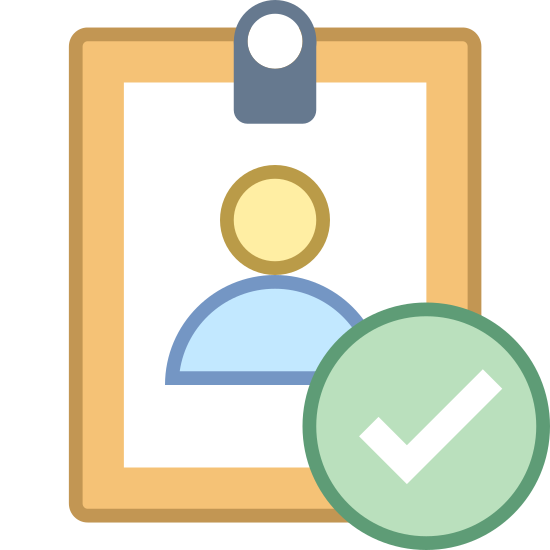 ID Verified icon. There is a rectangle with a persons outline on it. the outline covers the head, ears, neck, and shoulders. theres also a circle with a checkmark on it at the bottom.
