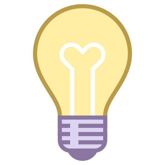 """Idea icon. It is a light bulb. Inside of it, there is a """"Y"""" sort of drawing to indicate the inner workings of the bulb. It also has the screwing part on the bottom of the bulb."""