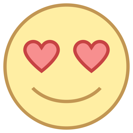 "Apaixonado icon. The ""In Love"" icon is represented by a round, smiling face.  It has no nose, and there are two small hearts where the eyes should be.  There is no hair, just a simple round face accented with a u-shaped smile and heart-eyes."
