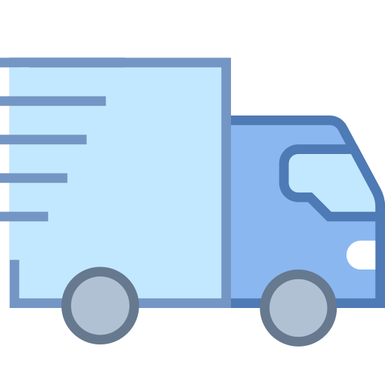 W tranzycie icon. It's a drawing of a moving van.  It's being viewed from one side, so there are only two wheels present.  There are five parallel horizontal lines drawn on the top of the back of the van, to simulate movement.