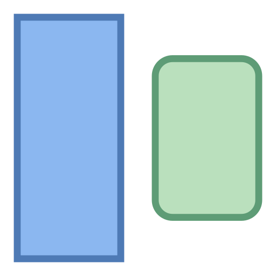 Inconsistency icon. There is a vertical thin rectangle with squared edges left of a slightly smaller wider rectangle with curved edges.