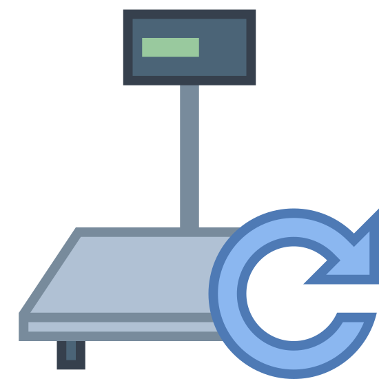 Industrial Scales Connecting icon. This image is of an industrial scale. There is a square base, and a thin rectangle coming off the base pointing upwards. At the top of the rectangle is another slightly larger rectangle which would denote the scale screen. On the right side of the base, there is a circular arrow.