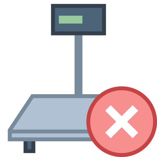 Industrial Scales Disconnected icon. This icon represents industrial scales disconnected. It is a flat small square that has one small line on the bottom left side and a circle with an X on the bottom left side. There is a line coming out the top with a small square on top on that line.