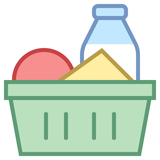 Ingredientes icon. The logo displays a shopping basket one would use in a grocery store in lieu of a cart for carrying smaller amount of items, indicating shopping for specific ingredients. Inside the basket is a few items, one of which is a bottle as if it's displaying milk, and the other two are vague shapes.