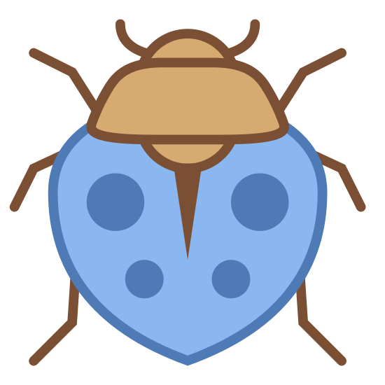 Owad icon. This logo at first glance resembles a ladybug. It has two antennae on its head, three slightly bent legs on each side of its body, and two large wings with dots covers them.