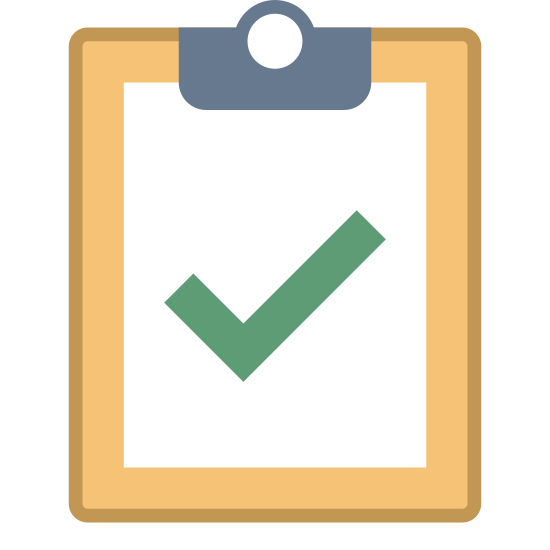 Inspection icon. This is an image of a clipboard. It is a rectangle with a smaller rectangle signifying a sheet of paper attached to it. On the paper there is a large check mark.