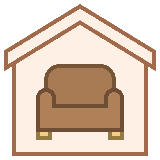 Interior icon. This icon has a shape of an outlined house with a roof on top of it. It has a shape in the middle of it that resembles a couch with black dots that resemble the feet of the couch.