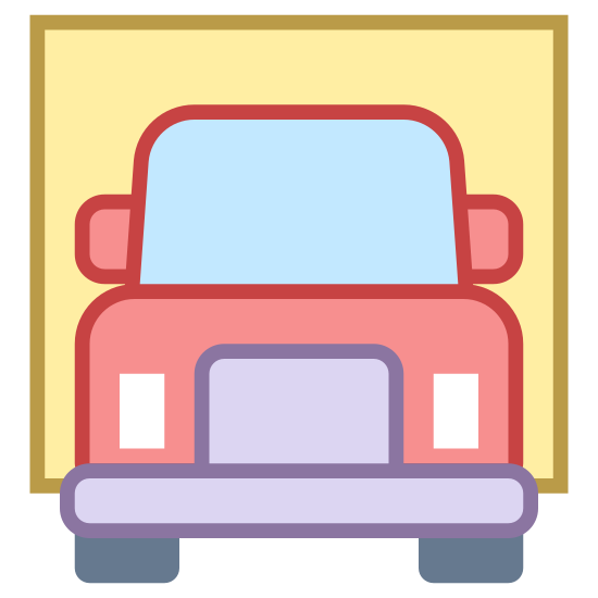 Ciężarówka międzystanowa icon. This is an icon depicting an interstate truck. The truck is facing the viewer and has two wheels showing that are small wide rounded rectangles. There is a front window, two rear-view mirrors, and two headlights. There is also a grill and a canopy showing.