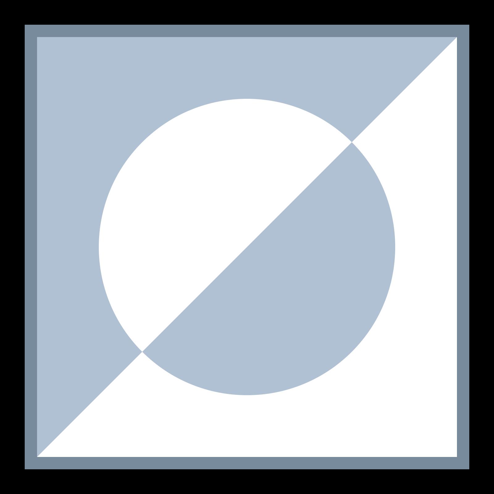 選択反転 icon. It is a square with a circle inside it. The square has a diagonal line from the bottom-left corner to the top-right corner that splits the square and circle into two triangles with half-circles inside them. The top-left triangle is filled with dots outside of the half-circle, whereas the bottom-right triangle is only filled with dots inside the half-circle.
