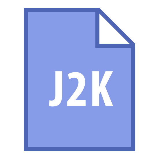 """J2K icon. It's a logo of a piece of paper with the upper right side of the paper folded over slightly to make a triangle. Inside the paper are the letters """"J2K"""" written slightly below center."""