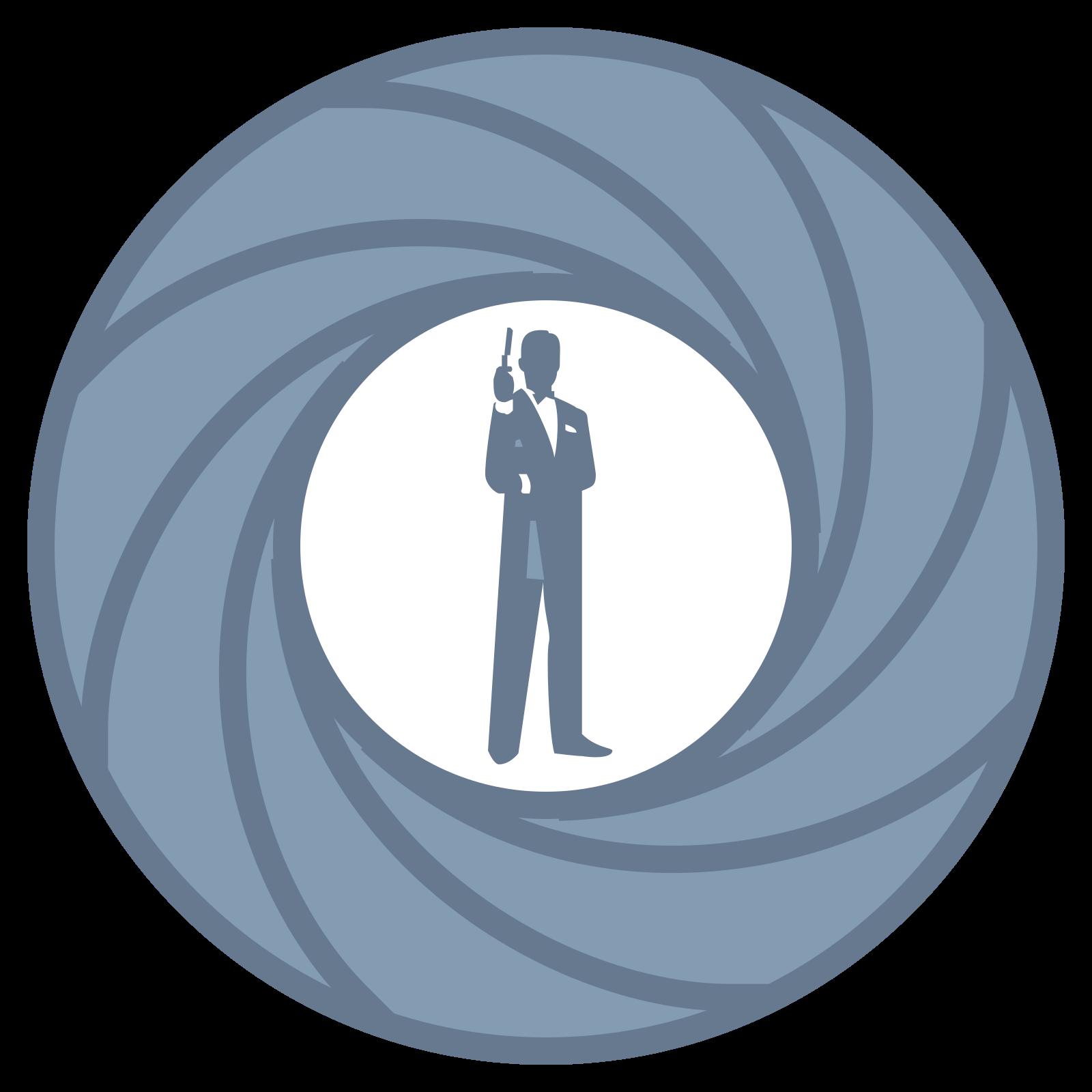 ジェームズ・ボンド icon. This logo is of a man standing inside of a round lens aperture with it closed down half way. There are six curved lines that lead to the center where the man is standing. The man is wearing a tuxedo and holding a gun in his right hand aimed toward the sky.