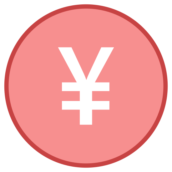 Japanese Yen  icon. This icon represents a Japanese yen. It is a round circle with a Y in the middle, which is two lines coming together and joining into one line. The Y in the middle is covered by two lines across where the lines join together to make the Y.