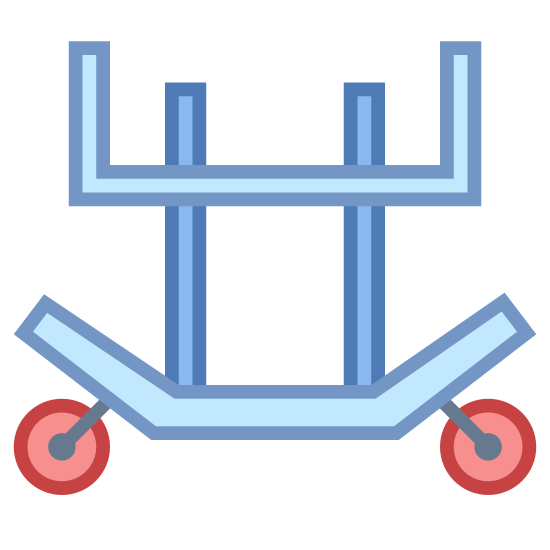 Carrello per il trasporto dei motori a reazione icon. The image is of a cart with wheels. There are four points on the cart that is sticking up but it is not covered. The top is flat. On the bottom there is a curved bar with a wheel on each curved end.