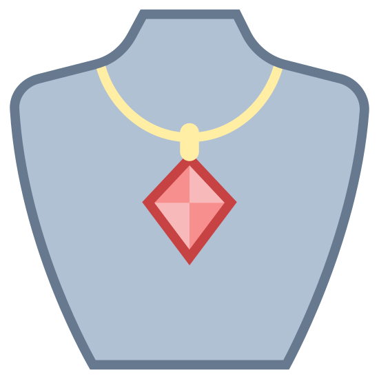 Jewelry icon. A necklace with a thin chain and large diamond shaped pendant is draped on a jewelry bust. The jewelry bust is shaped like half of a female chest and includes part of the neck, shoulders, and cuts off right above the breast line.