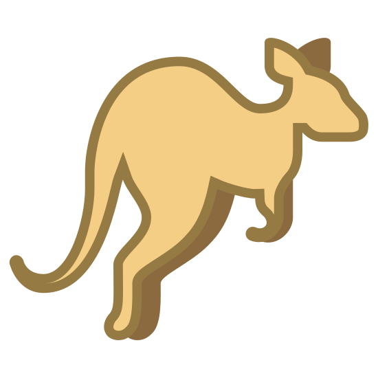 Kangaroo icon. The icon is a simplified depiction of the outline of a kangaroo. The icon, shaped with a kangaroo with ears, a snout, short arms, long legs, and a long tale, calls to mind a kangaroo mid-air in the process of one of its many characteristic leaps.