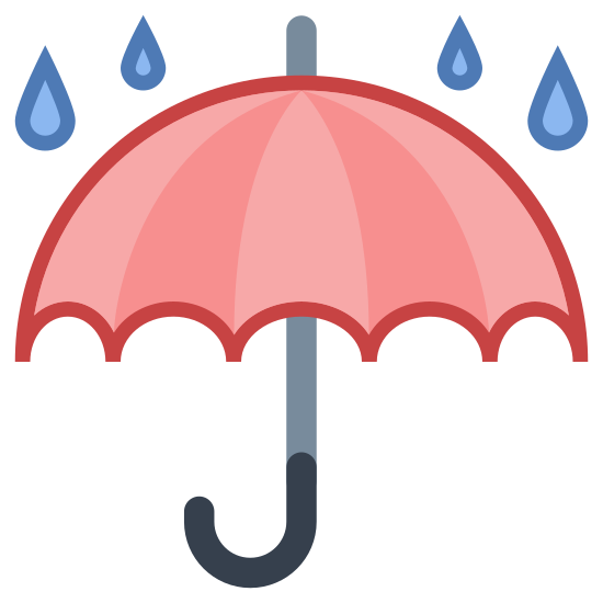 Chronić przed wilgocią icon. This is an icon of an umbrella with a curved handle on the bottom.  Outside, or on top of the umbrella are water drops meant to resemble rain, symbolizing Keep Dry.
