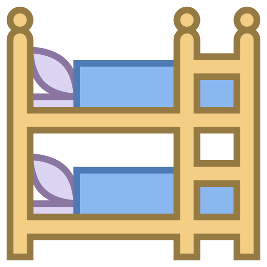 Bunk Bed icon. This icon depicts a kids bedroom. There is a bunk bed with a pillow on each bed. There is a ladder on the right side of the beds that connects them.