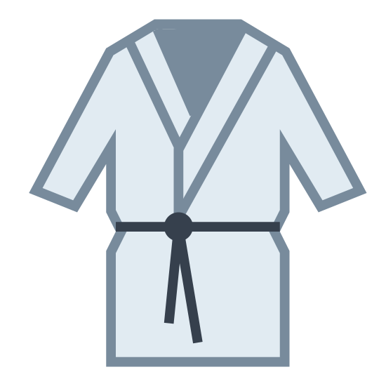 Kimono icon. The icon looks like a bathrobe laid flat. It is about knee-length, with wide sleeves reaching to the waist. There is a line across the waist to look like a tie. There are lapels on the collar part of the robe, the right panel overlapping the left.