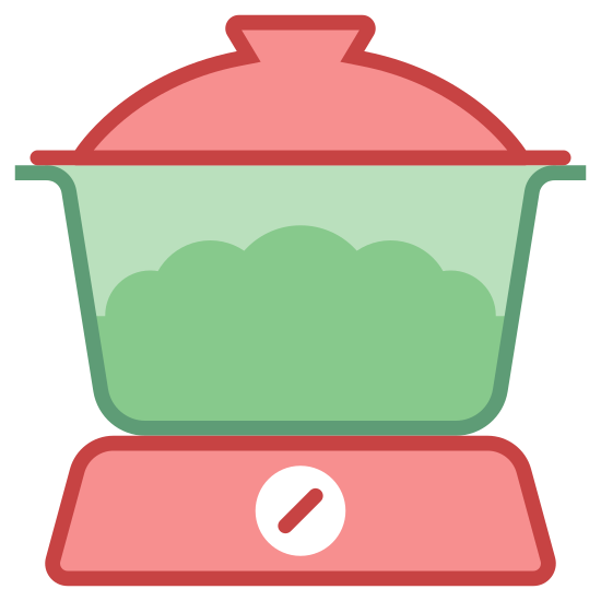 Sprzęty kuchenne icon. The logo is of a slow cooker, with a see through crock.  There is a dial on the base and a lid.  There are two handles, one on each side. There is no border, just the image of the slow cooker.