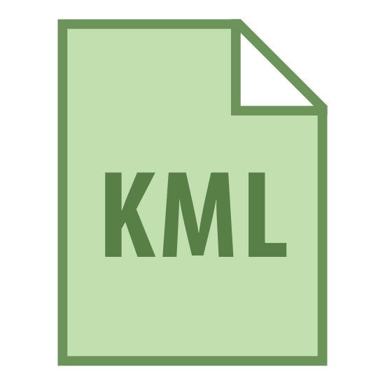 """KML icon. The icon for """"KML"""" is an outline of a rectangular piece of paper. The upper-right corner of the paper is folded at a forty-five degree angle, earmarking the page. The icon contains the acronym """"KML"""" in the lower center of the outlined page."""