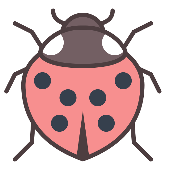Ladybird icon. This is a logo of a beetle with eight legs. The beatle has eight legs with four on the right side and four on the left side of the body.  Two legs are at the bottom of his body and the other six are evenly divided on each side at the top of its body.