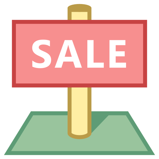 Land Sales icon. There is a rectangle that says SALE on it. it is attached to a pole that holds it together in the back. it is all on a rectangle on the floor.
