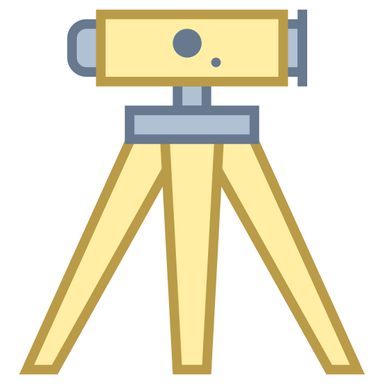 Land Surveying icon. A device that sits on a tripod that measures the dimensions of horizontal distances, elevations, directions, and angles on the earth's surface for use in locating property boundaries, construction layout, and mapmaking.